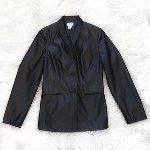 LOFT 100% Silk Metallic Gray Button Blazer Jacket